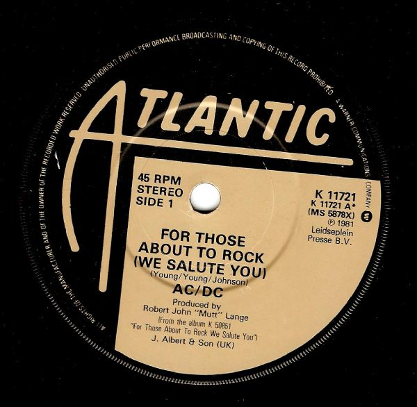AC/DC For Those About To Rock Vinyl Record 7 Inch Atlantic 1981